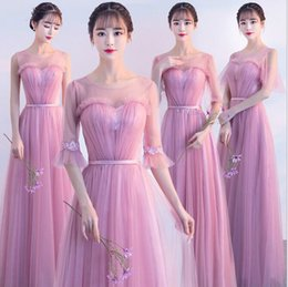 38f871de491 Best selling pure sexy long lace bridesmaid dress autumn new Korean pink long  bridesmaid sisters group party evening dress dress female