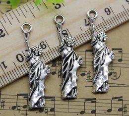 Liberty Alloys Australia - 100pcs Statue of liberty Alloy Charms Pendant Retro Jewelry Making DIY Keychain Ancient Silver Pendant For Bracelet Earrings 34x10mm