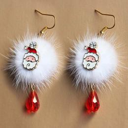 VelVet earrings online shopping - Brand New Year Gift Santa Claus Plum Deer White Velvet Ball Red Crystal Drop Earring Pendant Long Earrings For Christmas HR