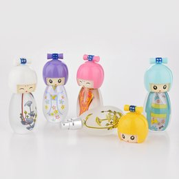 cute puppets UK - 20ml Cute Japanese Puppets Portable Glass Refillable Perfume Bottle With Spray Empty Parfum Case 50pcs by DHL