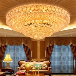rustic beds Australia - LED Light Modern Crystal Ceiling Lamps Round Golden Ceiling Lights Fixture Foyer Living Room Bed Room Home Indoor Lighting Changeable White