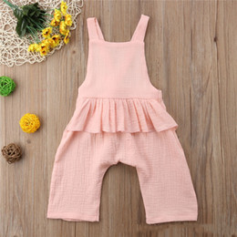 $enCountryForm.capitalKeyWord NZ - New INS Infant Toddler Linen Cotton Romper Baby Girls Sleeveless Backless Bow Ruffles Solid Jumpsuit Modis For Kids Clothes Summer Overalls