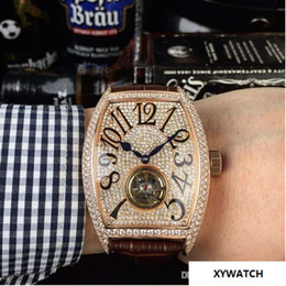 55mm Watches Australia - Top quality luxury 55MM men wristwatch leather strap wine barrels The flywheel automatic mechanical fashion diamond watch leisure brand me