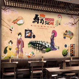 $enCountryForm.capitalKeyWord NZ - Nostalgic Vintage Japanese Cuisine Shop Sushi Restaurant Industrial Decor Wall Paper 3D Warm Yellow Background Mural Wallpaper