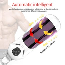 automatic masturbator sex Australia - Fully Automatic Masturbator Cup for Male Penis Exercise Rotation Telescopic Voice Masturbator Sucking Vacuum Pumps Sex Machine T200417