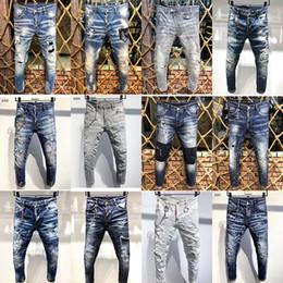 Wholesale green jeans for men resale online – designer 2020 Luxury Mens Distressed Ripped Biker Jeans Slim Fit Motorcycle Biker Denim For Man Fashion Designer Hip Hop Men clothing High Quality