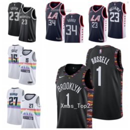 2019 New City Edition Basketball-Trikot 1 D'Angelo Russell 27 Jamal Murray 15 Nikola Jokic 23 Lou Williams 34 Tobias Harris 23 Blake Griffin
