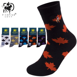 Wholesale crew socks for sale – custom High Quality Brand PIER POLO New Maple Leaf Socks Fashion Casual Cotton Crew Socks Business Embroidery Autumn Winter Men s Socks