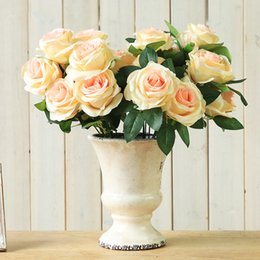 Artificial Red White Roses Australia - High Quality Flower 9 Head Flowers Rose Roses Wedding Artificial Decoration FLOWERS bouquet Champagne white purple red colour 41cm
