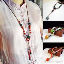$enCountryForm.capitalKeyWord Australia - Original Vintage Sweater Chain Charm Necklace Ceramics Beaded Necklaces Religion Charm Folk-Custom Gift For Mother Women Free Shipping