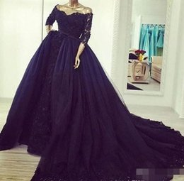 $enCountryForm.capitalKeyWord Australia - Vintage Half Sleeves Lace Navy Blue Evening Dresses with Detachable Train South African Off Shoulders Formal Holidays Plus Size Party Gown