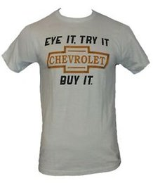 Wholesale buy classic shirts resale online – Chevy Chevrolet Mens T Shirt quot Eye It Try It Buy It quot Classic Logo Image