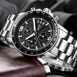 $enCountryForm.capitalKeyWord Australia - hot Brand LIGE 2019 new men's watches quartz watch men real three dial luminous waterproof 30M outdoor sports steel watch.gift