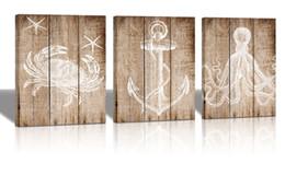 Art Canvas Prints Australia - Marine theme anchor Restoring ancient ways Octopus crabs- Modern living room decoration painting-Wood Grain Antique-Canvas Art Home Decor Ma