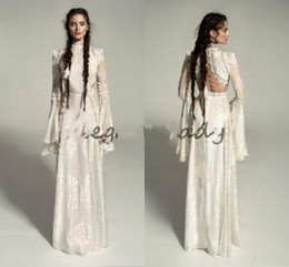high collar gothic wedding gowns NZ - Meital Zano 2019 Great Victoria Medieval Wedding Gown with Bell Sleeves Vintage Crochet Lace High Neck Gothic Queen Wedding Dresses