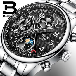 Discount moon phase calendar watch - 2017 NEW BINGER men's watch Multiple functions Moon Phase sapphire Calendar Mechanical Wristwatches B-603-8 2