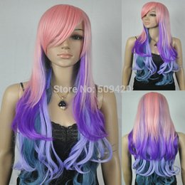 $enCountryForm.capitalKeyWord Australia - Pink Blue Purple Multicolor Long Layered Wavy Curly Sexy Lady Wig Lady Girls Cosplay Peluca Products WIGS