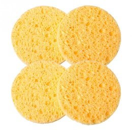 $enCountryForm.capitalKeyWord UK - 1PCs Natural Wood Fiber Face Wash Cleansing Sponge Beauty Makeup Tools Accessories Round Yellow 5cm Dia