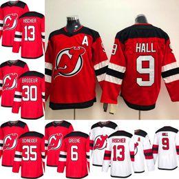 2018-2019 Season New Jersey Devils Jersey 9 Taylor Hall 13 Nico Hischier 30  Martin Brodeur 35 Cory Schneider Red Hockey Jerseys e214d2c43