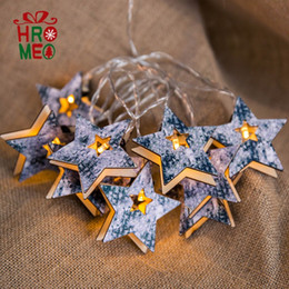 Discount wooden string lights - Wooden lamp string five-pointed star lamp string room bedroom atmosphere Christmas ornament lighting