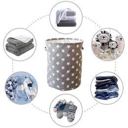 household laundry basket Canada - 35*45Cm   Star Laundry Basket For Toys Storage Basket Kids Cotton Linen Storage Bucket Collapsible Foldable Household Organizer Storage Bask