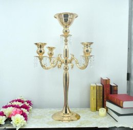 80cm Tall Metal Flower Stand Wedding Centerpiece Party Decoration Crystal Candle Holder With Rotated Pendants