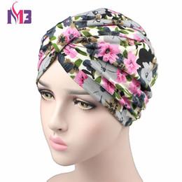 $enCountryForm.capitalKeyWord Australia - Spring Fashion Women Flower Printing Turban Modal Cotton Turban Hat Headband Turbante Headwear for Chemo Hijab Hair Accessories
