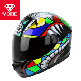 Discount yohe full face - 2019 New YOHE Full Face Motorcycle Helmets Knight Motocross protection Motorbike Helmets made of ABS PC Lens Visor cobra