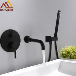 $enCountryForm.capitalKeyWord Australia - Wholesale And Retail Black Chrome Concealed Basin Sink Faucet Wall Mount 360 Rotation Spout Single Lever Mixer Tap Bathtub Wash Basin Faucet