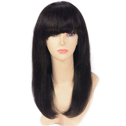 China Brazilian Virgin Hair Full Lace Wigs with Bangs Pre Plucked Natural Color Straight Human Hair Lace Front Wigs cheap long black wig full bang suppliers