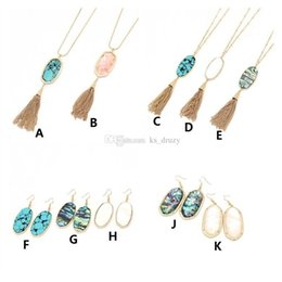 Wholesale 10 Styles Kendra Hexagon Stone Pendant Tassel Scott Hexagon Oval Shell Turquoise Necklaces Earrings New York MKI Brand Jewelry