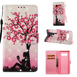 Wallet Painting Australia - Flip cover stand PU leather case for iPhone 6 6s 7 Painted 3D Plum girl Point drill with Credit card slot wallet shockproof cell phone cases