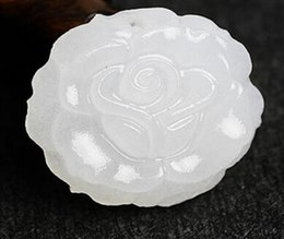 White Rose Crafts Australia - Crafts Natural Afghan White Jade Rose Pendant Sheep Fat Grade White Jade Rose Pendant Female Necklace