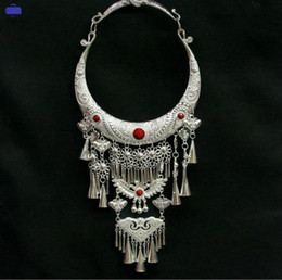 $enCountryForm.capitalKeyWord Australia - Yunnan ethnic style vintage necklace collar Miao silver necklace sweater chain jewelry accessories palace Miao nationality necklace