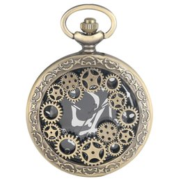 $enCountryForm.capitalKeyWord Australia - Bronze Hollow Out Gear Quartz Pocket Watch for Men Classic Large Black Dial Pendant Watch for Male Stylish Alloy Link Chain Watches