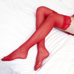 36564dd6f7123 3 Pcs Long Stockings Lace Sexy Thin Lady Knee Socks Transparent Thigh High  Socks Sexy Lingerie Bas Femme Striped Socks Long Red