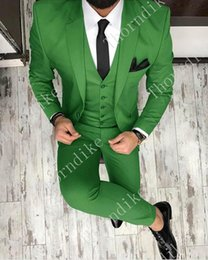 $enCountryForm.capitalKeyWord Australia - High Quality One Button Tree Green Wedding Groom Tuxedos Notch Lapel Groomsmen Mens Dinner Prom Suits (Jacket+Pants+Vest+Tie)