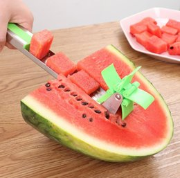 cantaloupe slicer UK - Watermelon Slicer Cutter Stainless Steel Novel Windmill Watermelon Slicer Cantaloupe Pineapple Fruit Vegetable Cutter Tools Kitchen SN1137