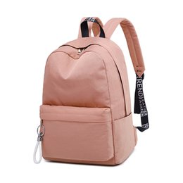 blue color laptop NZ - Waterproof Nylon Women Backpack Minimalist School Bag for Teenagers Girls Solid Color Leisure Laptop Bagpack Fashion Backpack