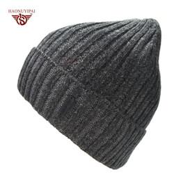 $enCountryForm.capitalKeyWord Australia - Brand mens winter hats bonnet winter beanie knitted wool hat plus velvet cap skullies Thicker beanies for men