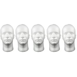 5Pcs Man Foam Male Mannequin Head Cosmetic Head For Hats Headsets F  Salon