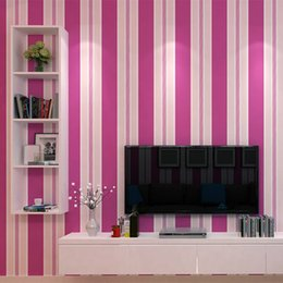 $enCountryForm.capitalKeyWord Australia - Fashion Non-woven Pink Red Purple Striped Wallpaper 3D Modern Living room Waterproof Textured Stripe Wall paper Rolls