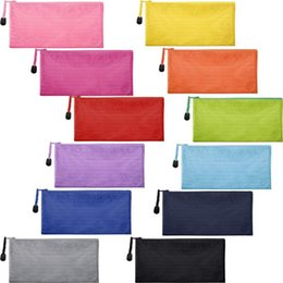 Piece Cosmetic Bag Wholesale Australia - 12 Pieces 12 Colors Zipper Waterproof Bag Pencil Pouch for Cosmetic Makeup Office Supplies and Travel Accessories