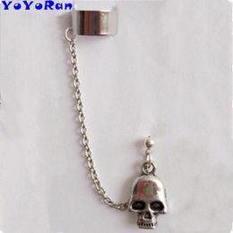 $enCountryForm.capitalKeyWord Australia - 1 Piece Gothic skeleton chain ear cuff clip earring man woman silver metal Punk skull head tassel chain ear-hook hang jewelry
