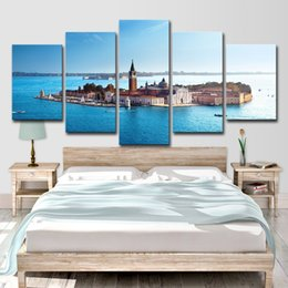 oil paint island Australia - Canvas Art Wall Pictures Home Decor 5 Panel HD Printed Island Around By Ocean Landscape Poster Modern Oil Painting