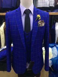 Ternos Slim Fit Suit Australia - 2019 blue plaid Men Suit Slim Fit 3 Pieces Tuxedo Groom Groomsman Custom men suits for wedding ternos para hombre kingsman blazer sets
