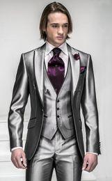 Bright Suits Australia - Korea-Satin Bright Silver With Black Brim Man Groom Tuxedos Wedding Suits Prom Formal Suit (Jacket+Pants+Vest+Tie+Hanky)