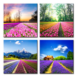 oil painting lavender wall art Australia - Canvas Prints Tulip Lavender Field Wall Art Colorful Flowers Artworks on Canvas Landscape Painting Framed for Modern Home Decoration