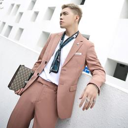 Rowing Suits Australia - custom POP men's suit spring suit men's fashion Korean version pure color single row buckle leisure