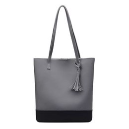 2c8a558bc Color bloCk tote bags online shopping - tassel shoulder bag Fashion block  color PU shoulder bag